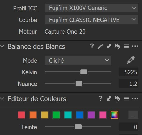 In Capture One, Classig Neg is available