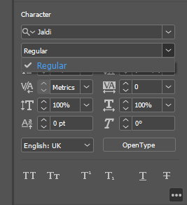 """Empty weights list. I expect here to be the """"Bold"""" option"""