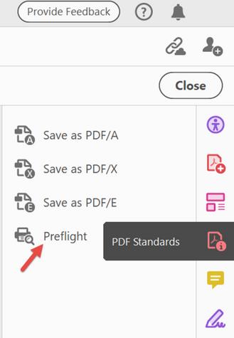 Preflight from PDF Standards tool.