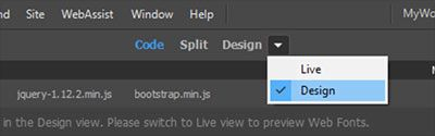 Document Toolbar > Design View