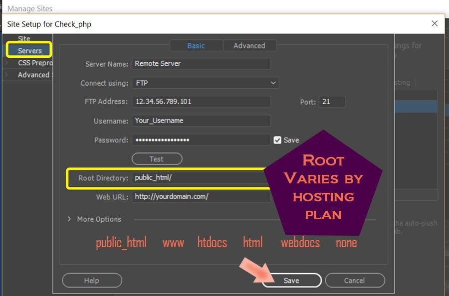 Manage Sites > Remote Server FTP log-in