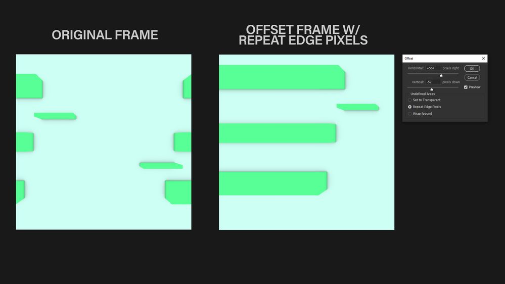 Offset Feature W/ Mirror Edge Pixels in PS