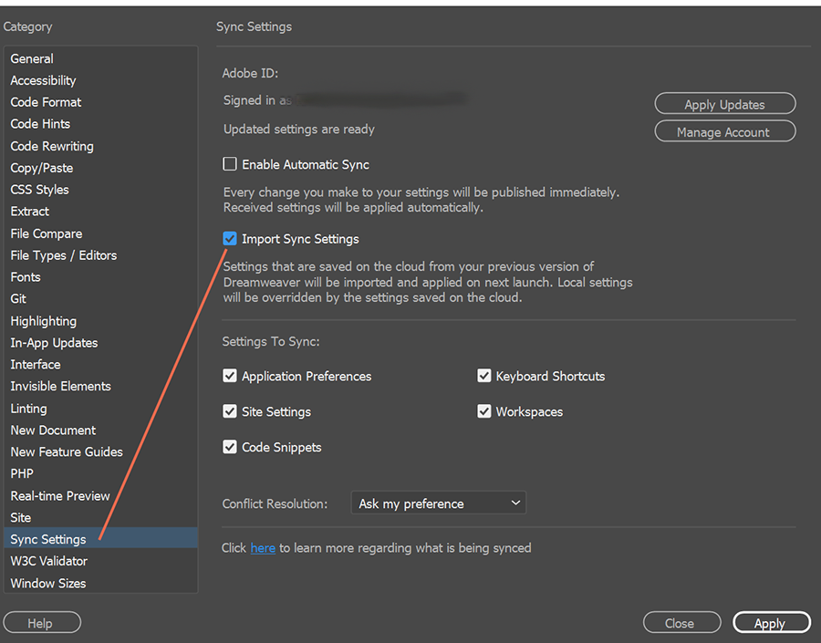 Import Synced Settings