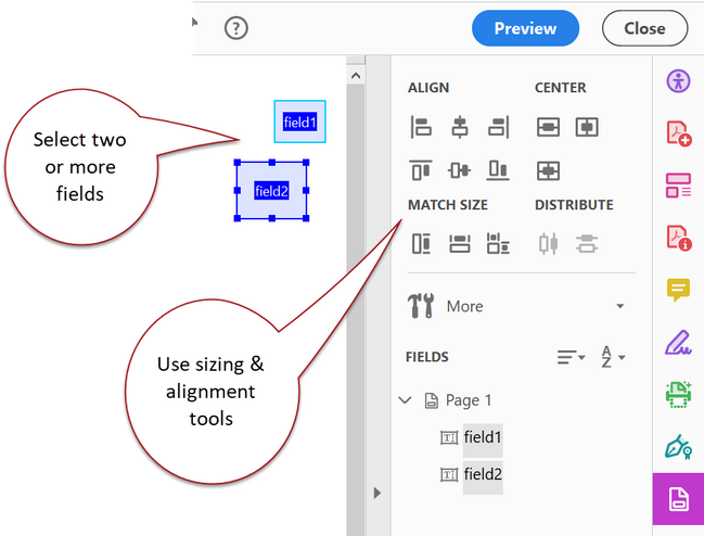 Align and Resize tools in Acrobat.
