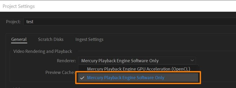 Switching Renderer to Mercury Playback Engine Software Only.