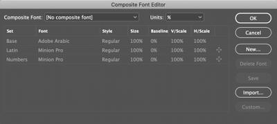 Composite Fonts editor (English Arabic)