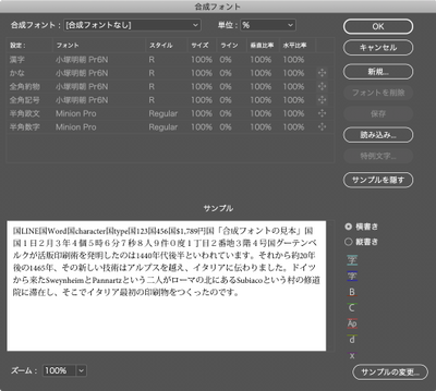 Composite Fonts editor (Japanese)