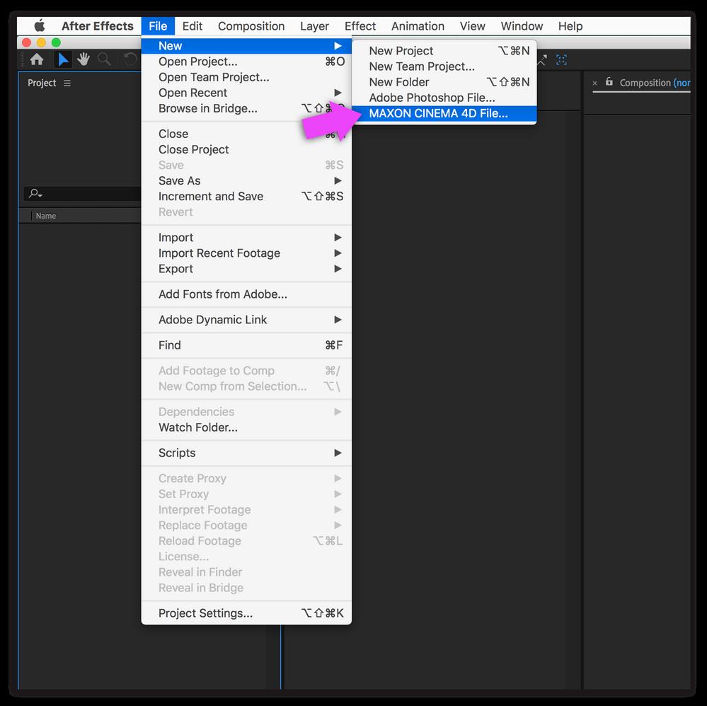 File > New > Maxon C4D Project File