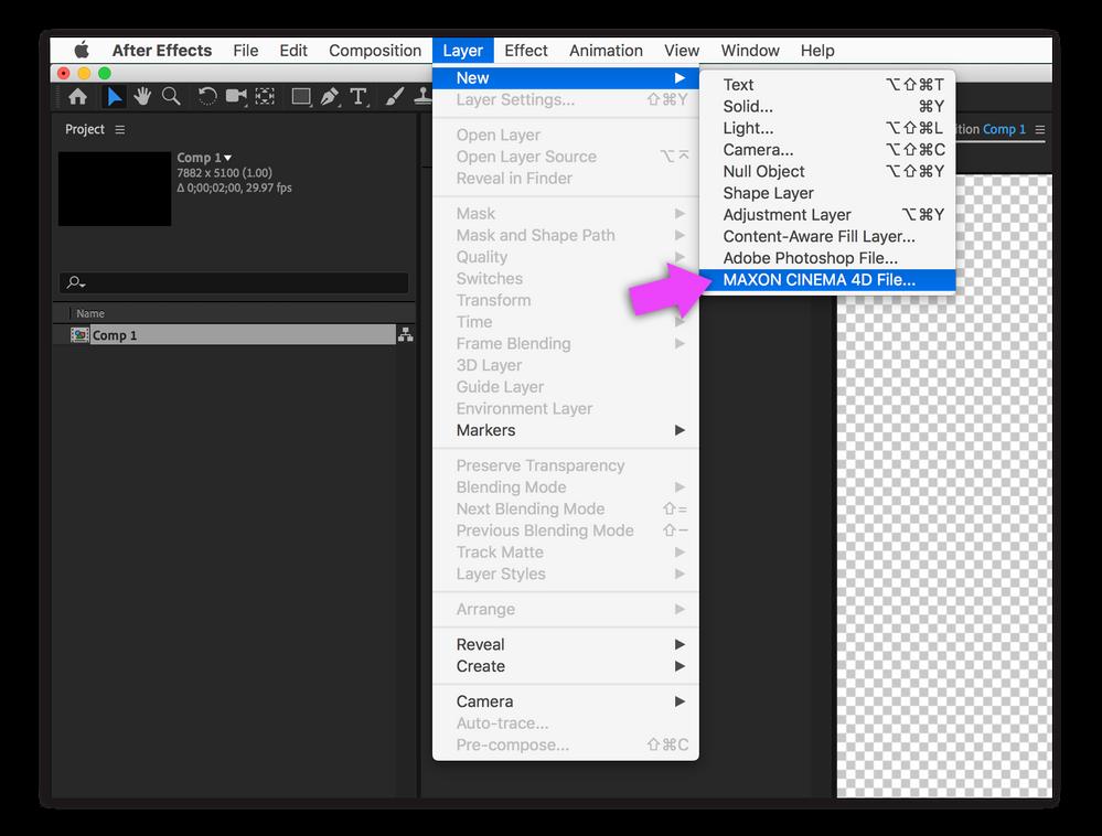 Layer > New > Maxon C4D Project File