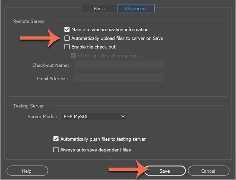 Site > Manage Sites > Remote Server