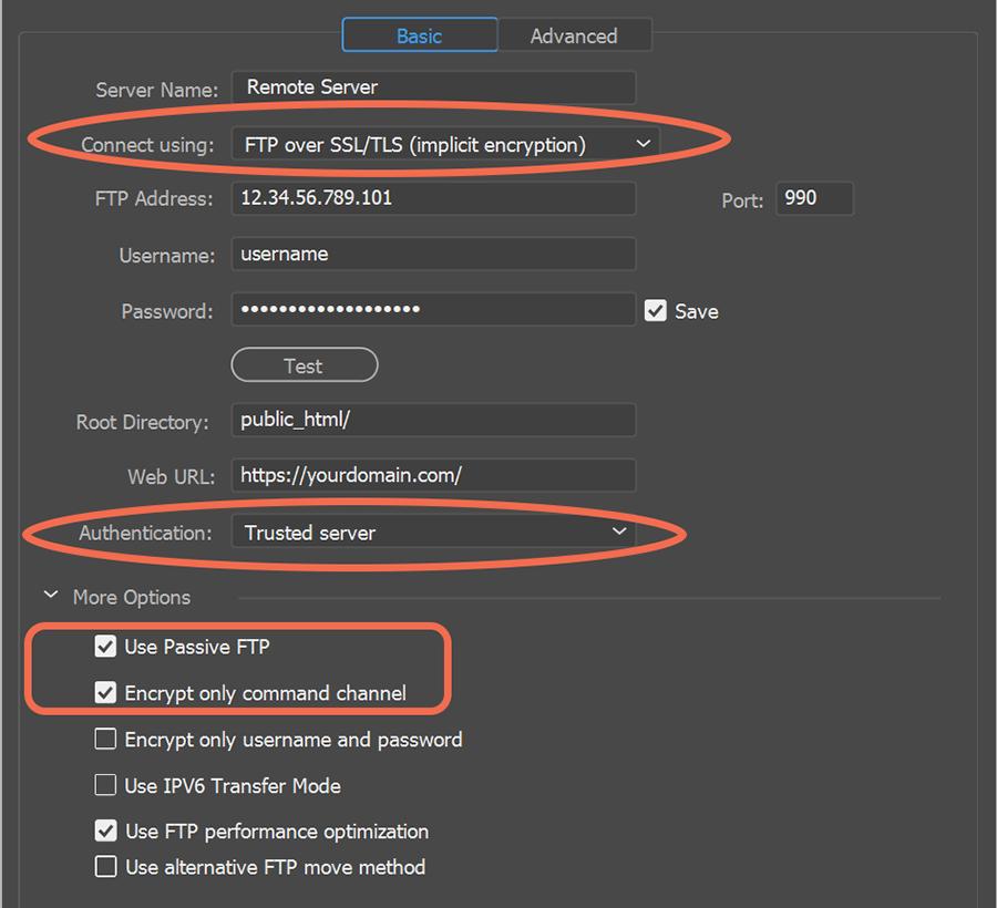 SSL/TLS (implicit encryption)