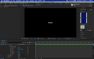 So I was able to make the three dots kinda stumped here; first time using after effects