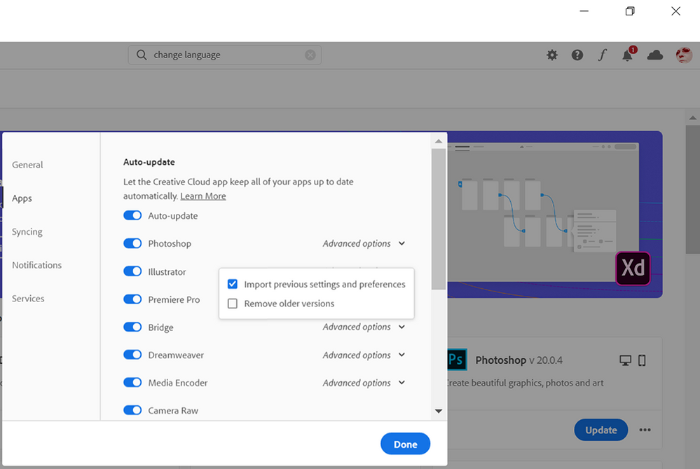 CC Desktop App > Apps > Advanced Options
