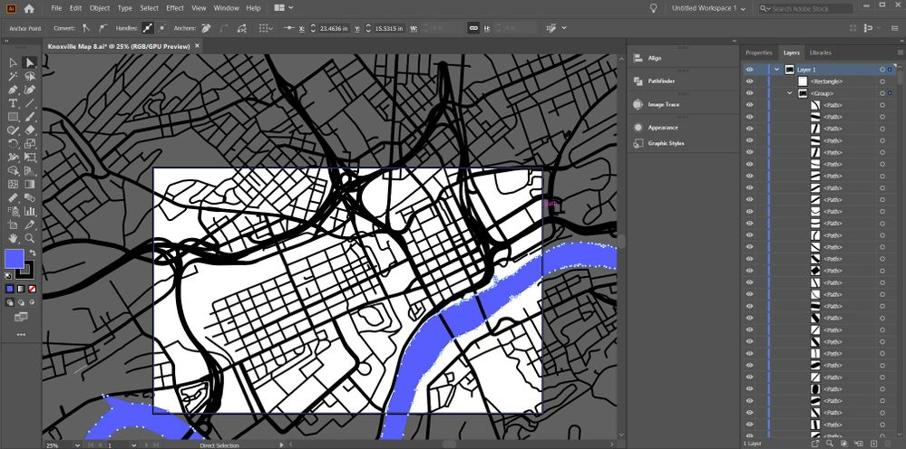 Clipping mask shape, all paths, river is compound shape.