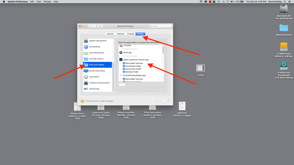 Select Privacy tab, scroll down to Files and FOlders