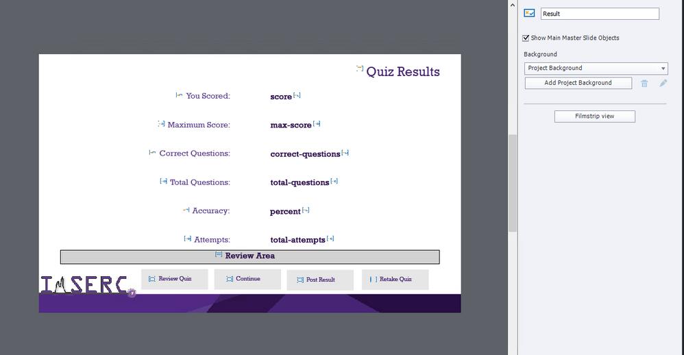 """results slide """"Master Slide View """""""
