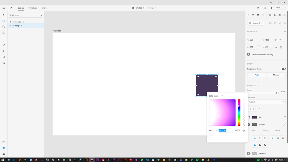 Look at the color panel, a weird gradient while selecting colors
