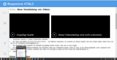 Same HTML5 output, but not working. Conditional text is blended out, filter function is activated