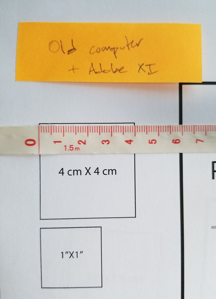 old output print with ruler